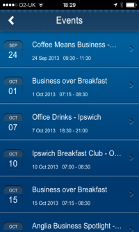 Events List from Suffolk Biz, the app by PC Futures