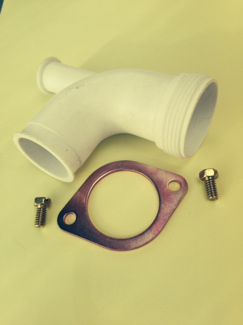 Outlet pipe for ISE waste dispose old style with flange and 2 bolts
